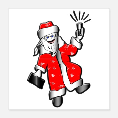Phone Funny santa claus with phone and tablet. - Poster