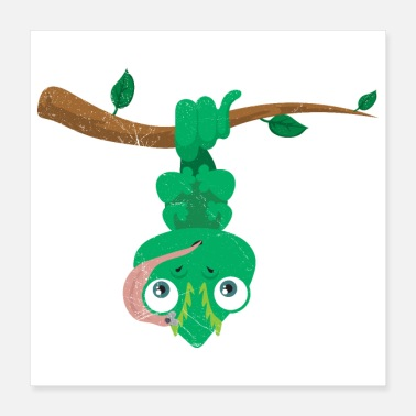 Chamaeleon Cute Animals Funny Chameleon Upside Down Gift Idea - Poster
