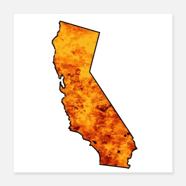 Isolated California Map With Flames Background - Poster