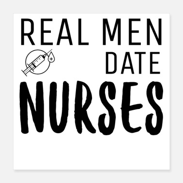Syringe Real Men Date Nurses Syringe Graphic - Poster