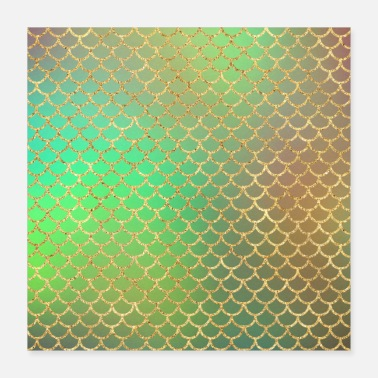 Chic Gold Glitter Mermaid Pattern Sparkle Chic Green - Poster