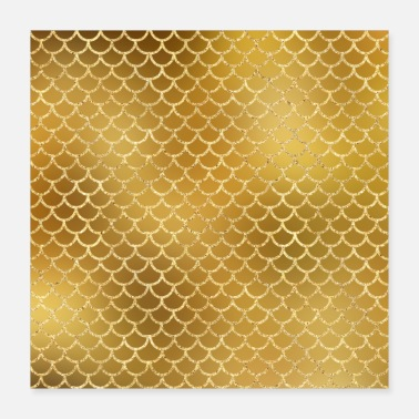 Chic Gold Glitter Mermaid Pattern Sparkle Cute Chic - Poster