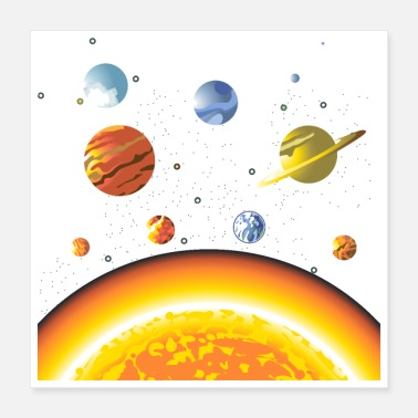 Rocketship Planets and Sun Solarsystem Science Lover Gift Die - Poster