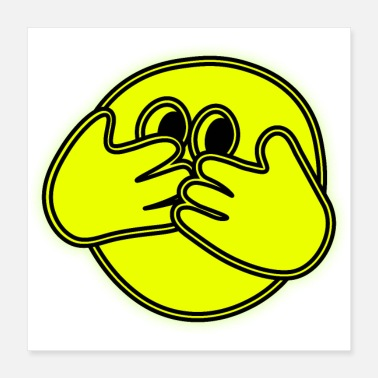 Backhand Scared yellow emoticon. GIFT Man Woman Youth - Poster