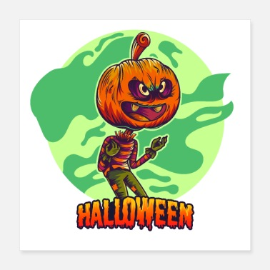 Pumpkin Head Funny Halloween Art - Spooky gift for a happy bat! - Poster