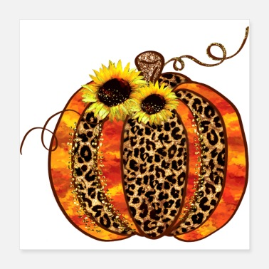 Fall Pumpkin Glittered Leopard Pattern Fall Pumpkin With - Poster