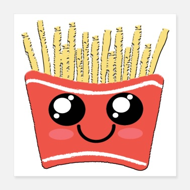 French Fries French Fries Kawaii Cute Happy Face Fast Food - Poster