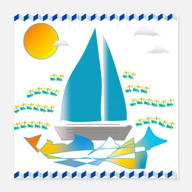 Graphic Art Blue Boat. Graphic illustration - Poster