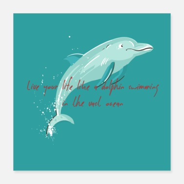 Vintage Art dolphin vintage tshirts - Poster