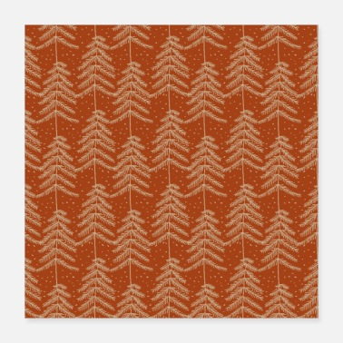 Pine Tree Red Gold Christmas Pine Trees Pattern - Poster