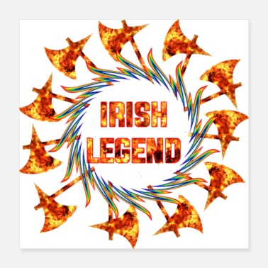 Axe Irish legend with fiery axe - Poster