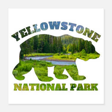 Wyoming Yellowstone National Park Bear Nature Landscape - Poster