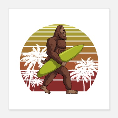Rafting Bigfoot surfer sunset retro illustration sasquatch - Poster
