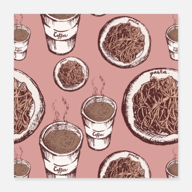 Pasta Lover Coffee Pasta Patterns - Poster