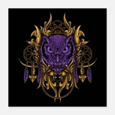Dream Catcher Purple Own And Golden Dream Catcher - Poster