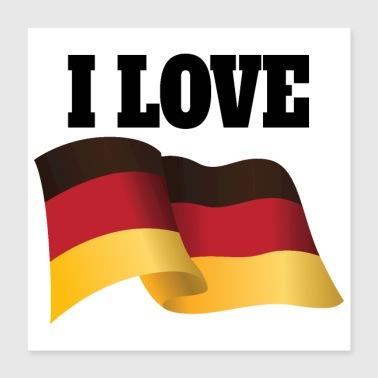 Country I love Germany German Flag Flutter - Poster 16x16