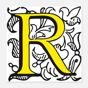 Letter Boxing Letter R with ornament frame - Poster