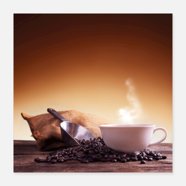 Brown Coffee Coffee cup and coffee beans - Poster