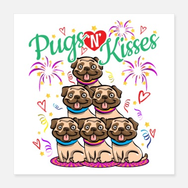 Kiss Pugs N Kisses Miss You - Get Well Soon Gift Idea - Poster 16x16