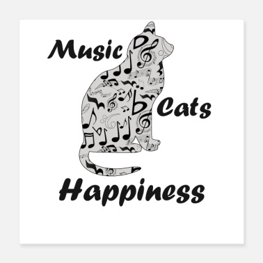 Cats Music Notes Cats Happiness Gift - Musician Art - Poster
