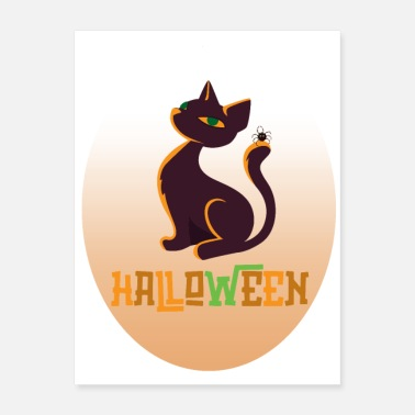 Witchcraft Cat and spider Halloween in oval - Poster