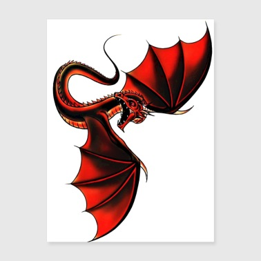 Black and Blood Red Dragon - The Winged Shadow - Poster 18x24
