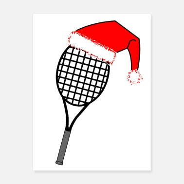 Backhand Tennis Racket Santa Hat - Poster