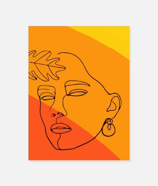 Minimum Posters - Hand drawn face and leaf. - Poster white