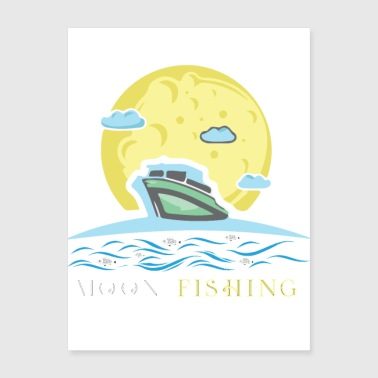 moon fishing fish fisherman angler sailor night - Poster 18x24