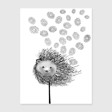 Hedgehog Flower - Poster 18x24