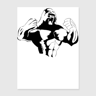 Gorilla Rage Power Strength Alpha Male Silverback - Poster 18x24