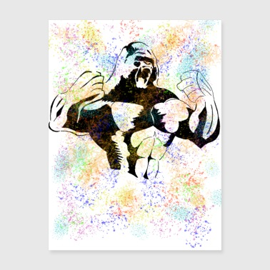 Gorilla Colorful Power Strength Alpha Male - Poster 18x24