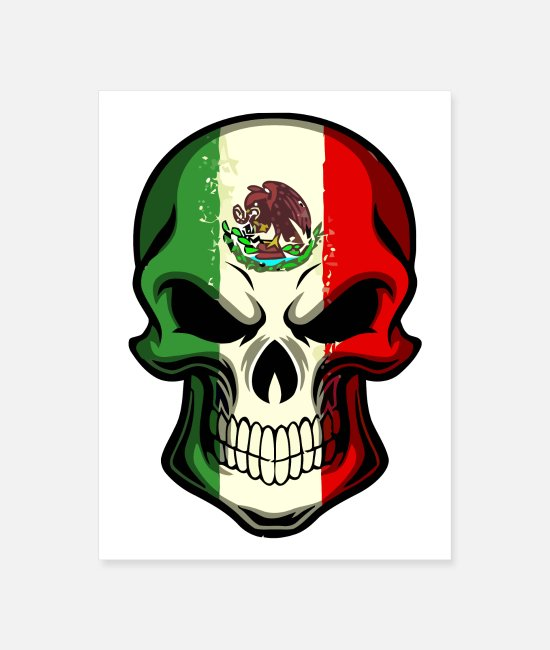 Mexican Posters - Mexican Mexico Flag Skull - Poster white