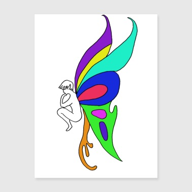 Fairy butterfly coloured wings fairy illustration - Poster 18x24