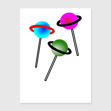 Lollipop Lollipop Lollipop Planet Illustration - Poster 18x24