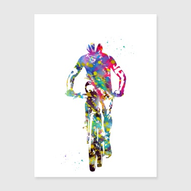 Cycling mountain biker - Poster 18x24