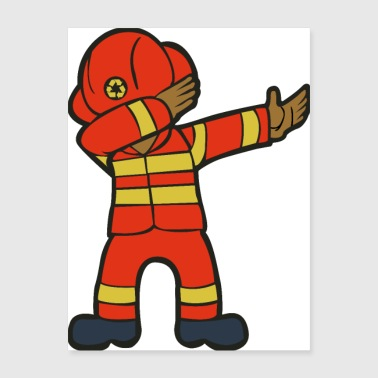 Dabbing Fire Fighter - Poster 18x24