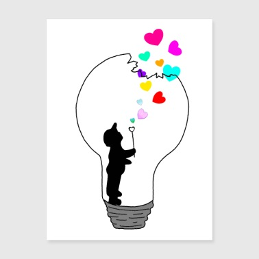 Bulb Heart Colorful Boy Blowing Drawing - Poster 18x24