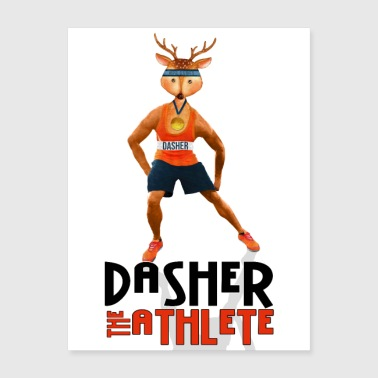 Dasher the Athlete Santa's Reindeer - Poster 18x24