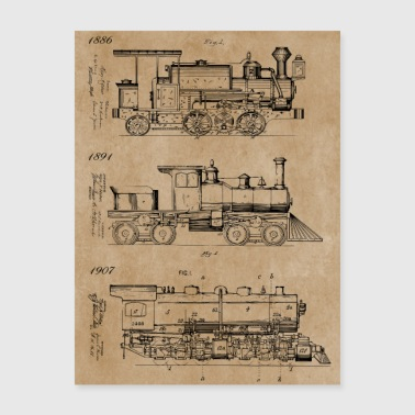 Vintage Steam Trains Patent Drawings - Poster 18x24