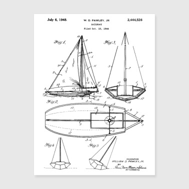Gift For Sailor 1947 Sailboat Patent - Poster 18x24
