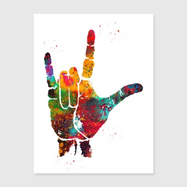 I Love You, ASL Hand Print,Sign Language, Waterco - Poster 18x24