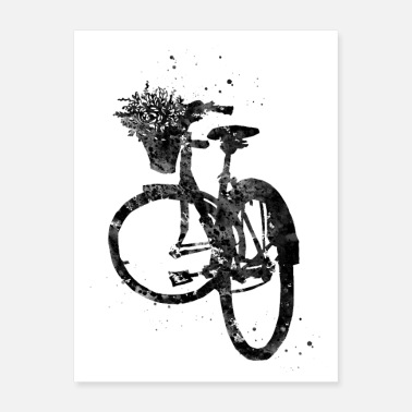Basket Bicycle with Flower in Basket - Poster