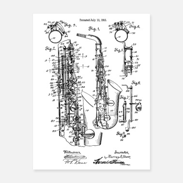 Marchingband Jazz Saxophone Vintage Patent Image 1915 - Poster