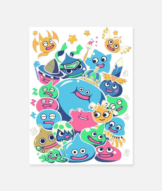 Cute Adorable Mascots Posters - Slime Party - Poster white