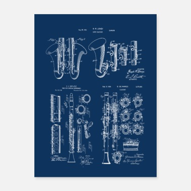 Marchingband Vintage Patent Prints Clarinet Musical Instruments - Poster