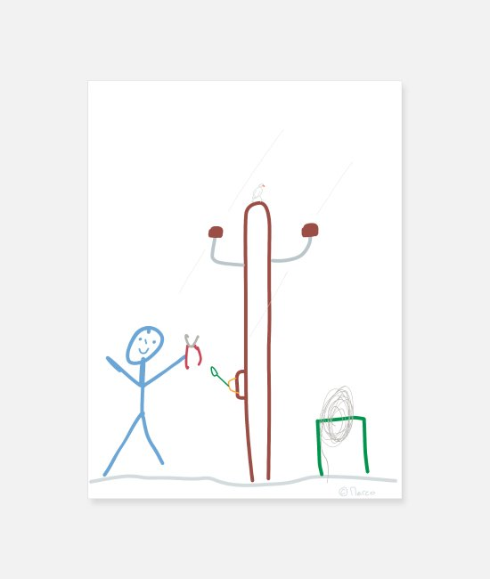 Boss Posters - Stick figure electrical engineering Work - Poster white