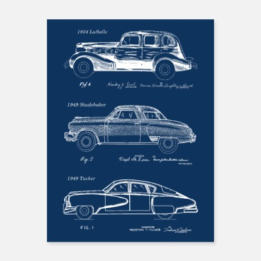 Automobile Classic Retro Automobiles Patent Prints Navy Blue - Poster
