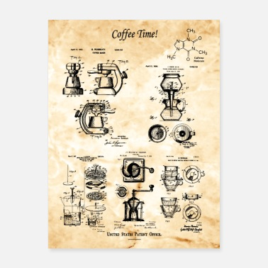 Coffee Lover Patent Blueprints - Poster 18x24