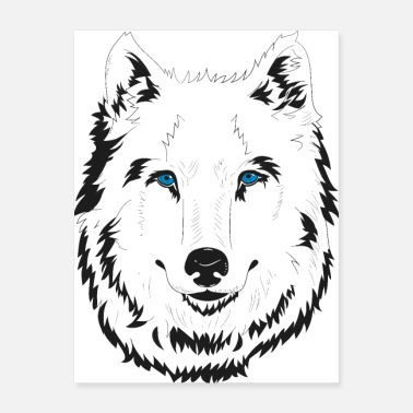 Wolf Cute hand drawn blue eyed white wolf illustration - Poster